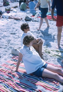 1968 June On the Beach Elouise and Diane