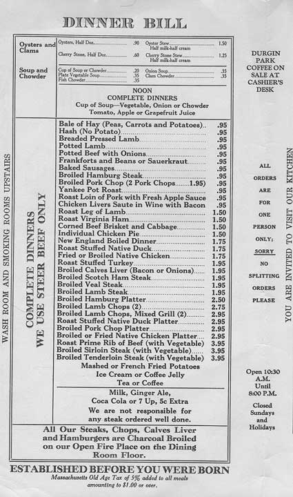 Durgin Park Menu, p. 2