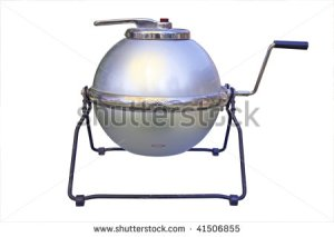 old washing machine with crank, shutterstock