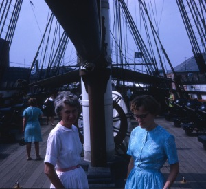 1967 Sep Edith and Elouise on Old Ironsides
