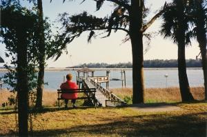 1996, Diane on bench, Montgomery house