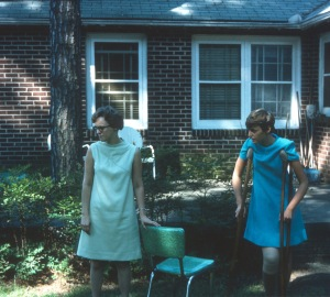 1969 Oct Elouise and Diane on crutches