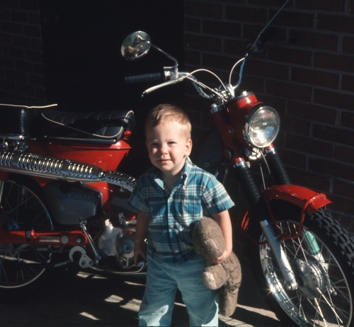 1970 Scott in Columbia with motor bike and Fufu