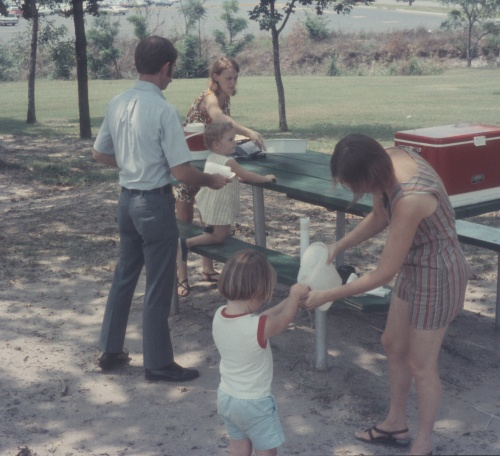 1972 Aug Picnic with Diane and Clay Kelley Elouise Scott and Sherry