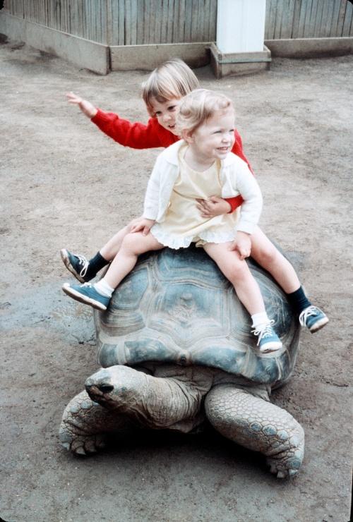 1972 Aug San Diego Zoo Scott and Sherry riding the Tortoise