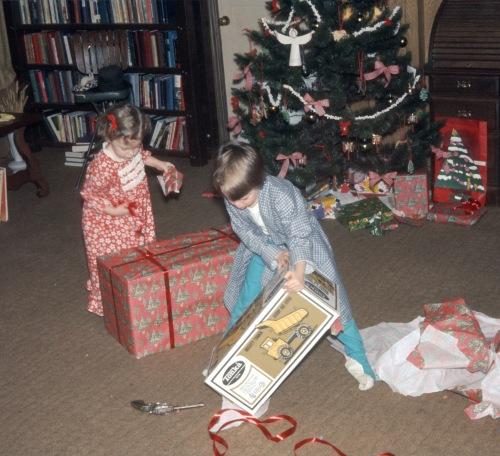 1973 Christmas Altadena opening presents