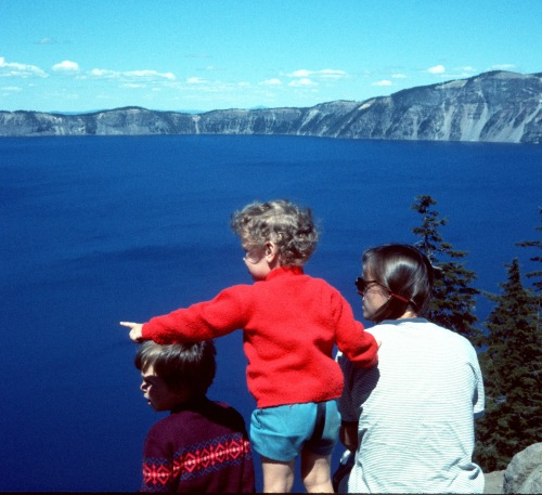 1973 Jul Crater Lake Scott Sherry and Elouise at the Lodge looking out