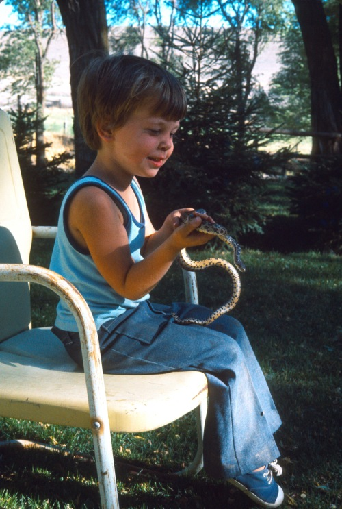 1973 Jul Scott learning what to do with a snake 2