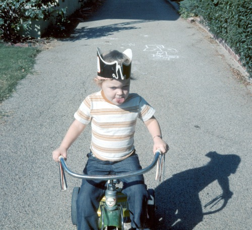 1973 Dec Sherry concentrating on her driving Altadena driveway