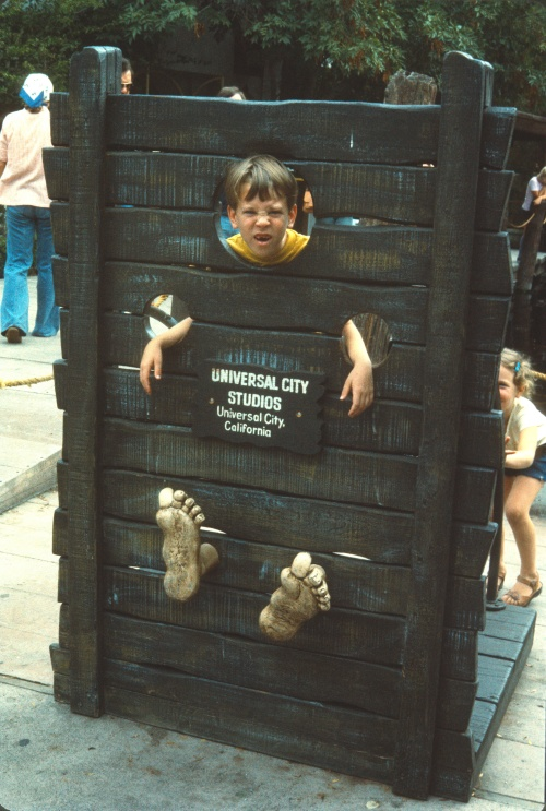 1974-5 Scott in the stocks at Universal Studios ND