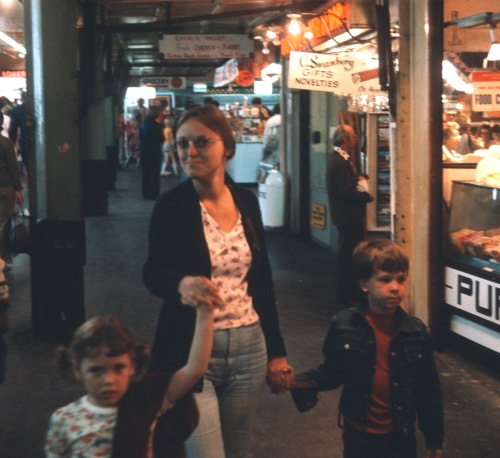 1975 Elouise with Sherry and Scott shopping ND