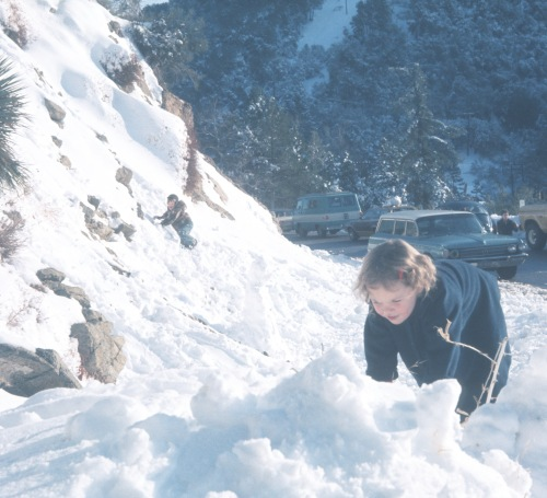 1975 Jan Sherry and Scott in the snow San Gabriel Mountains