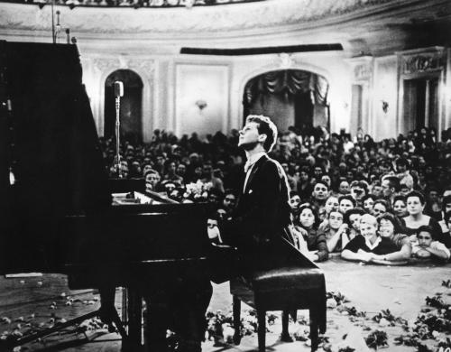 Van Cliburn performing in the Great Hall of the Moscow Conservatory during the First Tchaikovsky International Competition in 1958