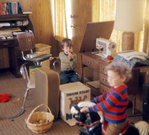1974 Feb Den chaos Scott and Sherry