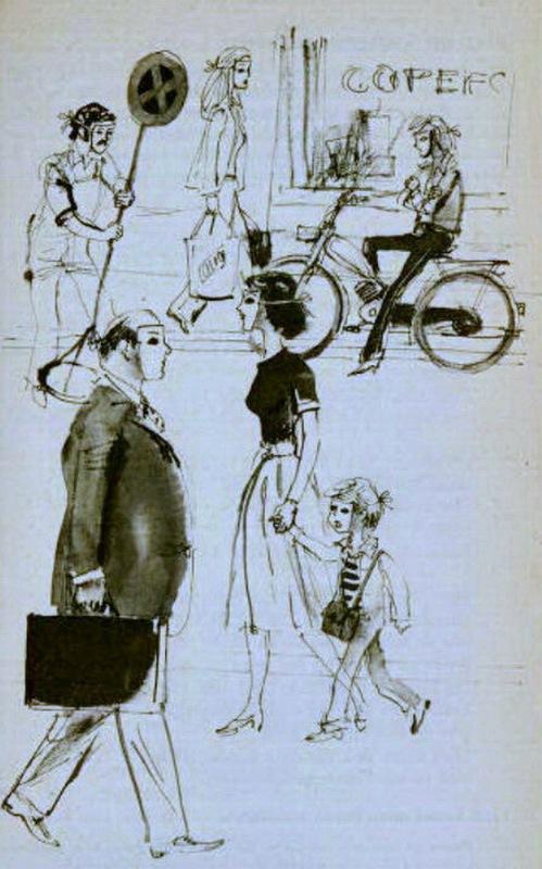 Horst Lemke sketch for Psalm 139:1-6, Die Gute Nachricht, published by Deutsche Bibelstiftung Stuttgart, 1978